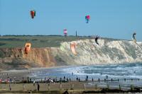 Kite surfing at the Wight Air Festival, Yaverland, Isle of Wight